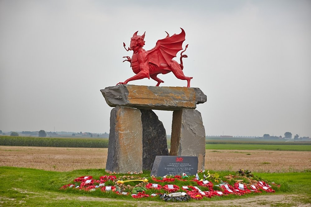 The Memorial to the 6,000 Welshmen who died at the horrors of Passchendaele, Flanders