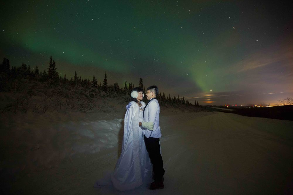 Bride and Groom under Northern Lights Fairbanks Alaska 01.jpg