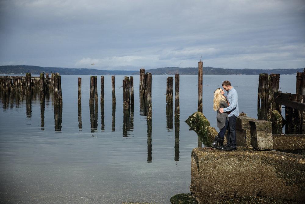 Engagement Photos on the Pier in Tacoma Washington