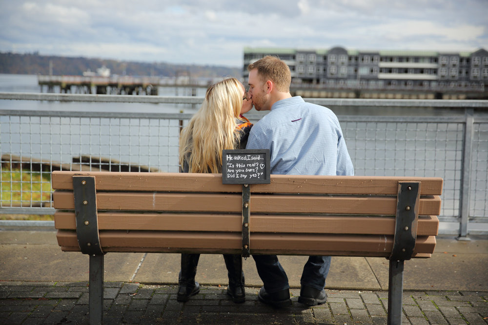 Engagement Photos taken in the fall on the Pier in Tacoma Washington
