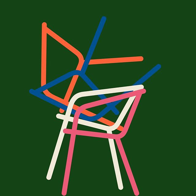 Stacked.⠀ .⠀ The simple beauty of a group of objects interacting with each other. The same idea as 'Tangled' from my feed a while ago, but this time with chairs rather than coat hangers. ⠀ .⠀ .⠀ #stack #illustration #chair #beautyintheeveryday #procreate