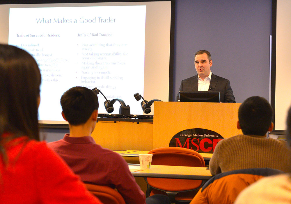 Presenting to the Master of Science in Computational Finance program at Carnegie Mellon University in 2017.
