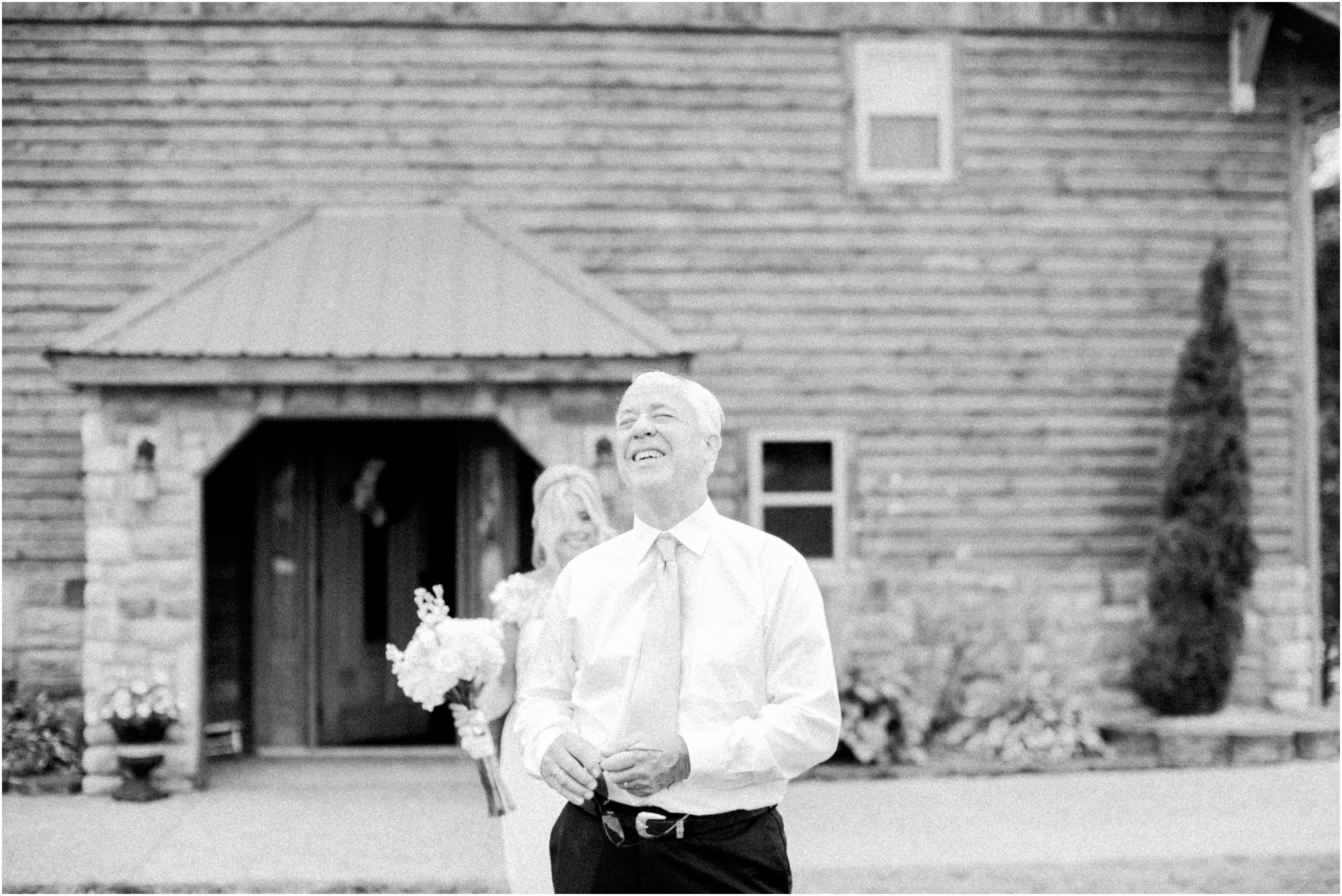 Father and Daughter First Look at a Timberline Barn Wedding by Jordan Brittley Photography
