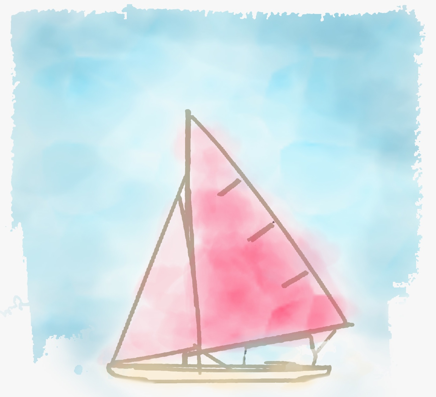watercolor, sail boat