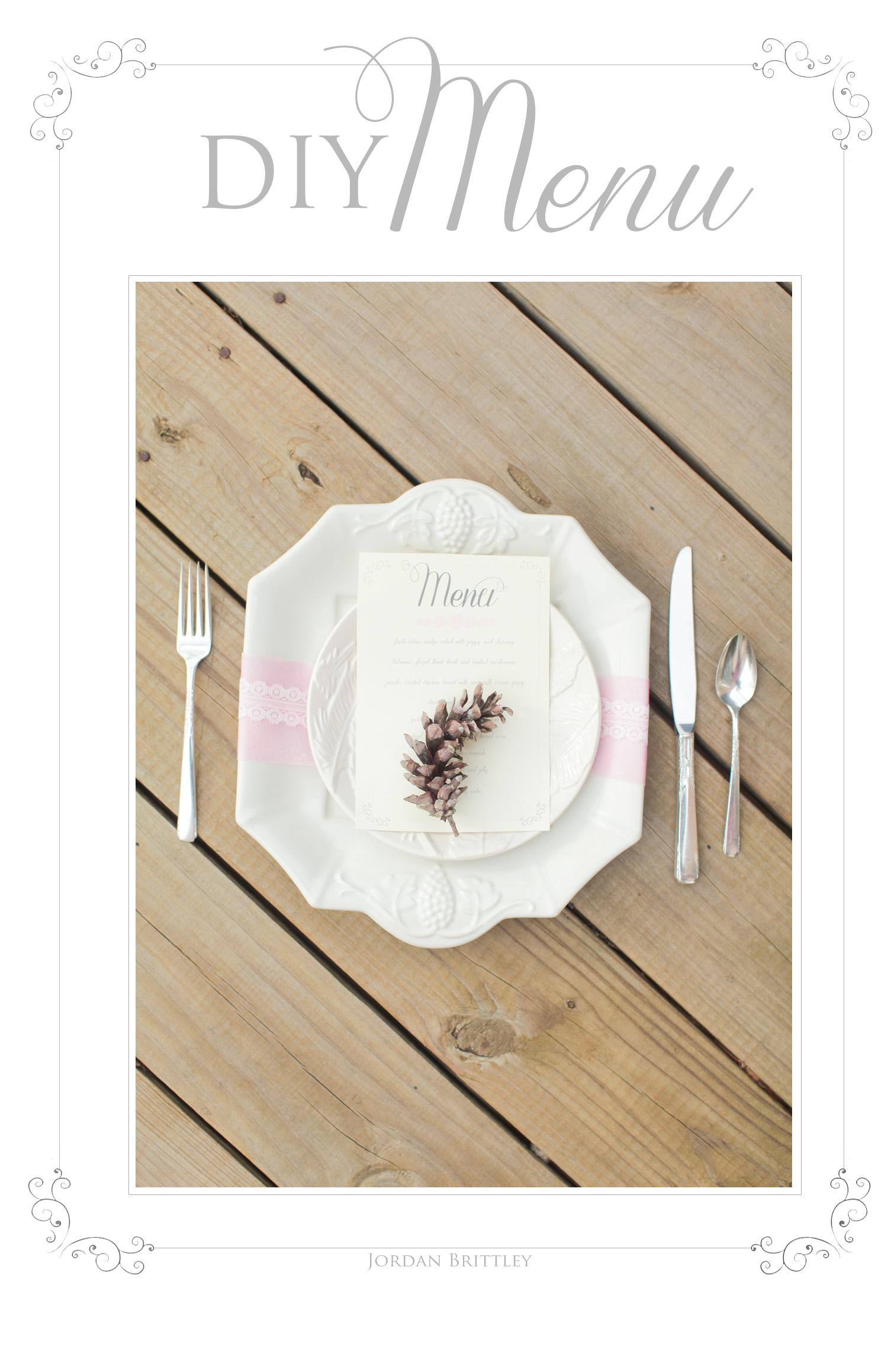 DIY Menu - Wedding Menu by Jordan Brittley