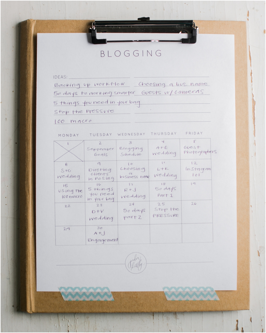Blogging Schedule Organization by Jordan Brittley
