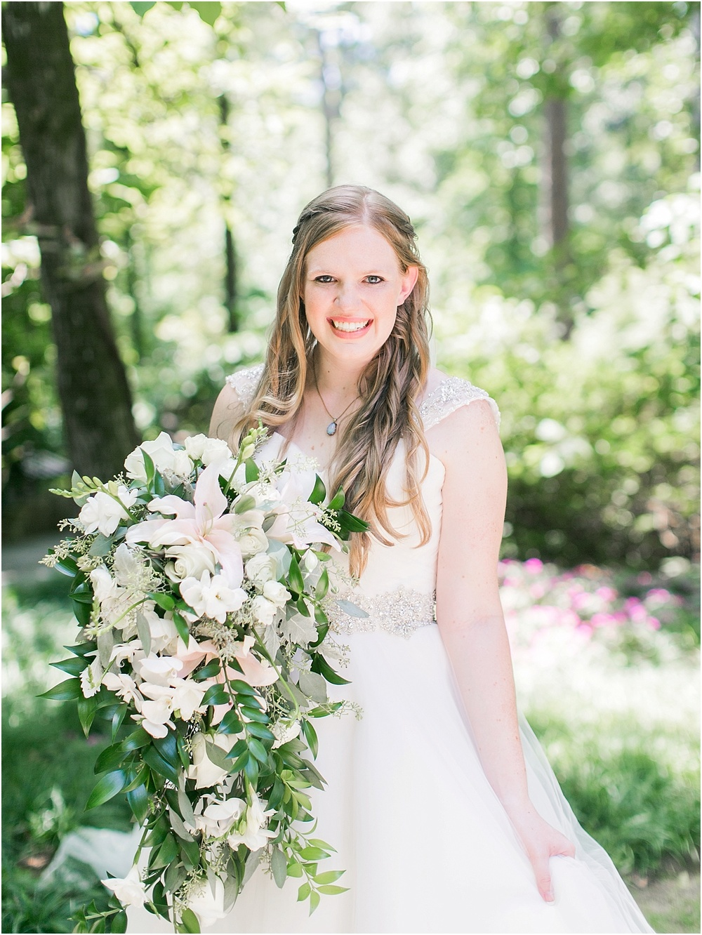 Floral Design by Flowers & Home | Dress & Veil by Norman's Bridal | Garvan Woodland Gardens in Hot Springs, Arkansas