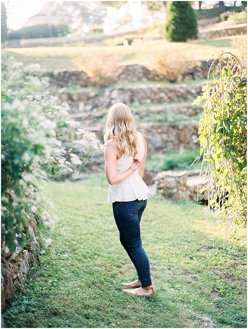 Lace top and jeans for a casual look - Engagement Photo Looks