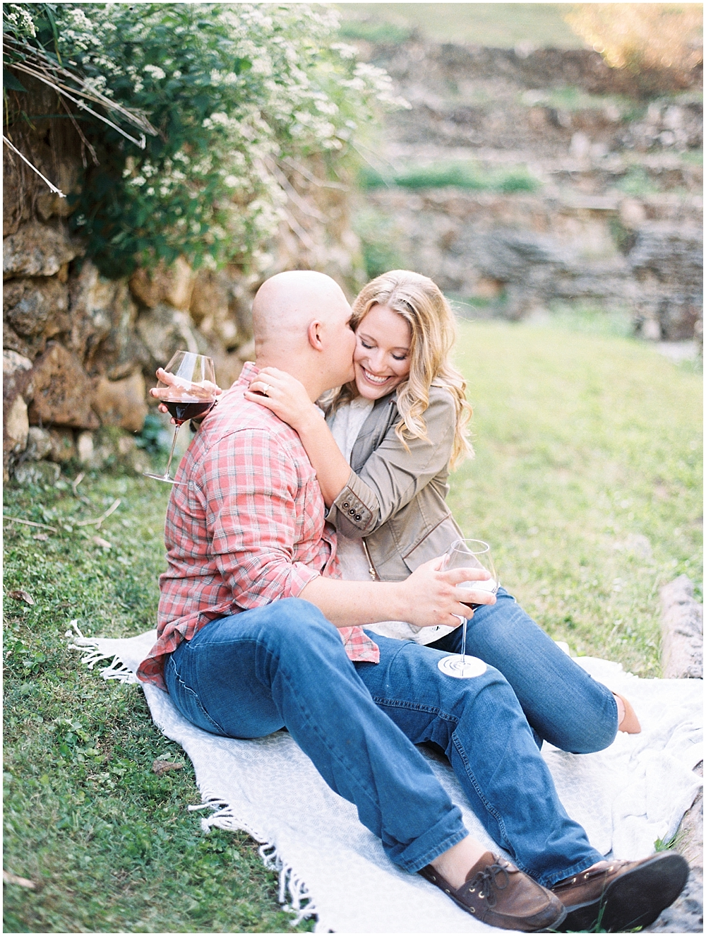 Romantic engagement photos in a rock garden