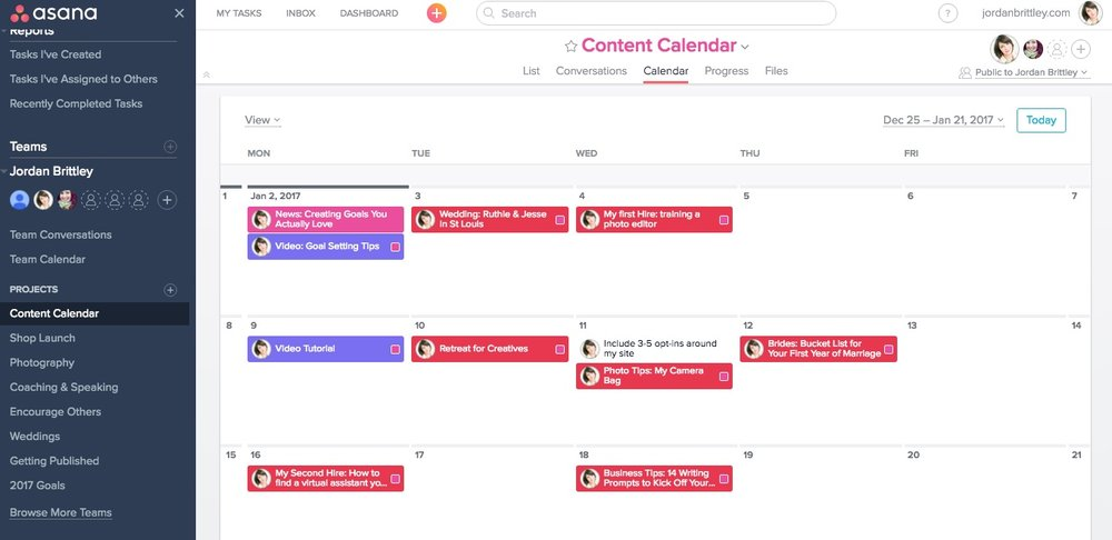 Using Asana for Blogging