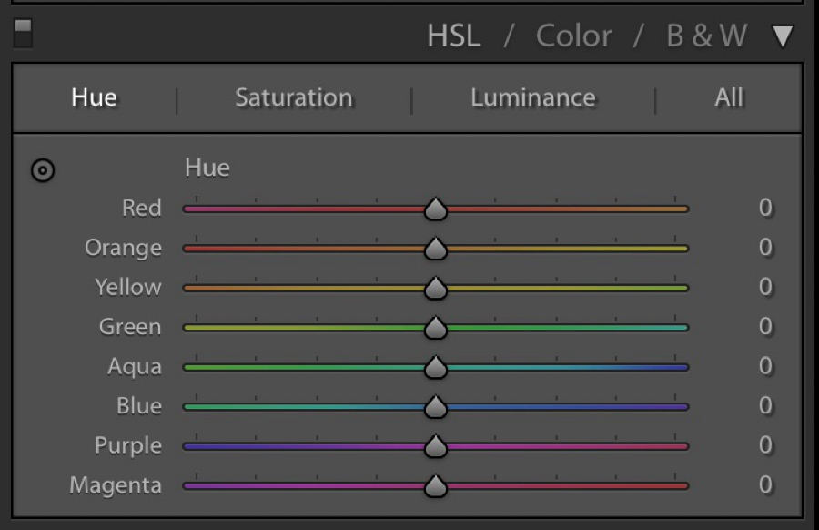 Hue panel in HSL Lightroom panel
