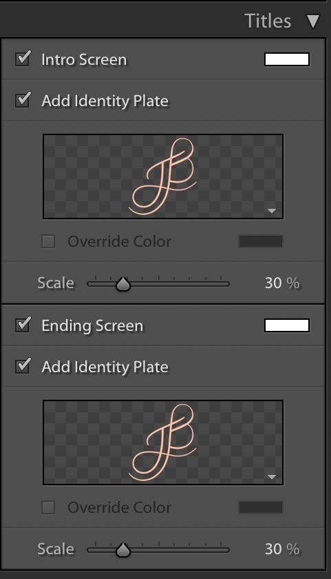 Lightroom Slideshow Module — Titles Panel