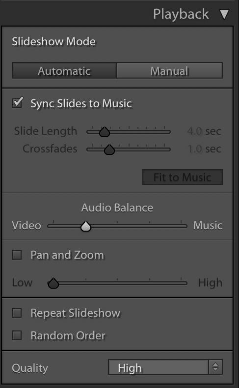 Lightroom Slideshow Module — Playback panel