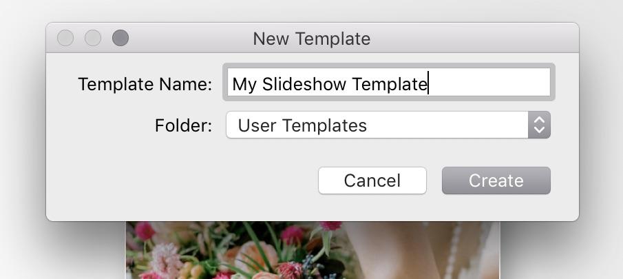 Lightroom Slideshow — create a slideshow template