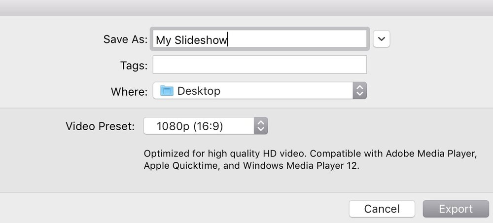 Lightroom slideshow export settings