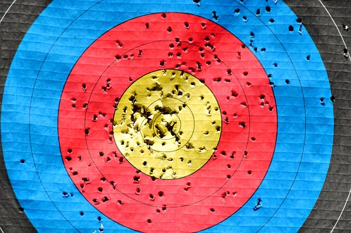 arrow holes on target - many missed bull's eye