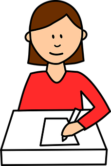 cartoon girl writing at desk