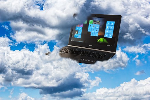 laptop in clouds
