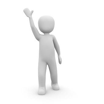 friendly figure waving one hand