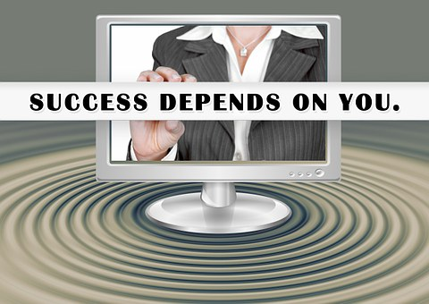 success depends on you quote on computer screen