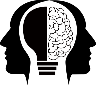 emotional intelligence - image of light bulb & brain in 2 heads