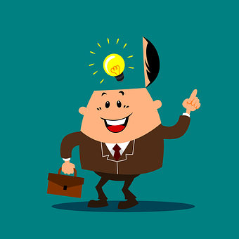 man in suit with idea - light bulb above head