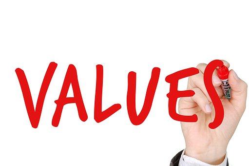 values written in red