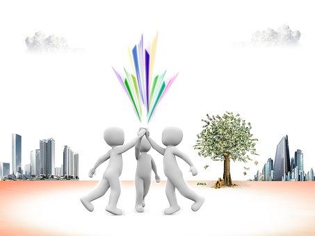 3 figures represent teamwork