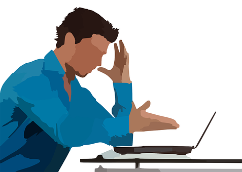frustrated manager at laptop