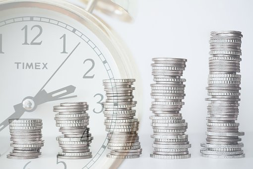 ROI image - stacked coins and clock