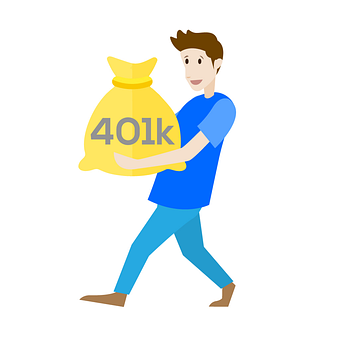 cartoon man with gold bag - 401K