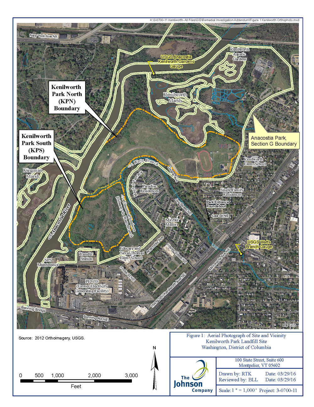 A page from the  Supplemental Groundwater Study of Kenilworth Park  showing the two sections of the park.