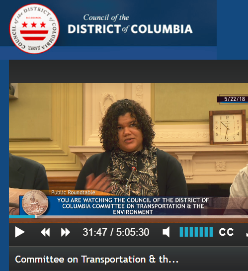 Danielle Burs with DC Appleseed Center for Law & Justice testifying before the Council of the District of Columbia. Danielle supported APACC's views at this public roundtable.