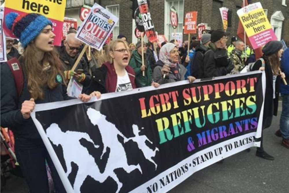 LGBT Support Refugees and Migrants banner on the People's Assembly End Austerity Now demonstration (April 2016) by Denis Fernando, Rainbow Coalition Against Racism