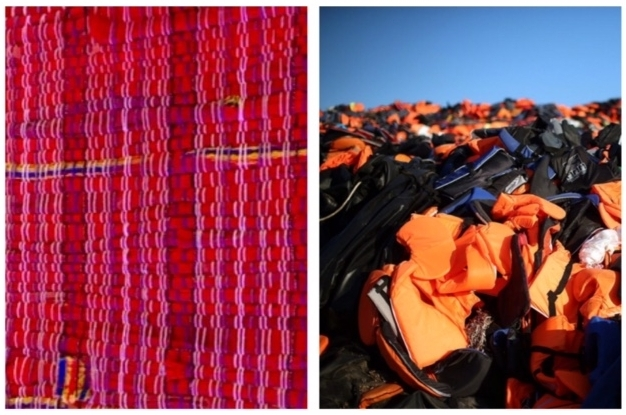 L: Our first woven welcome mat, made from life jackets at the AwakeningSoul Conference, R: Thousands of life jackets left behind on the beach after Syrian Refugees made the hazardous journey in life boats to Greece