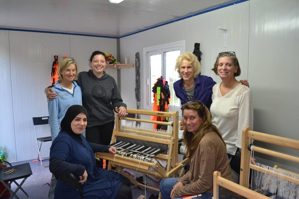 Frannie (second from the right) & Becca with the  Love Welcomes  Team working at the Syrian Refugee camp in Greece where The Welcome Project was founded in 2017