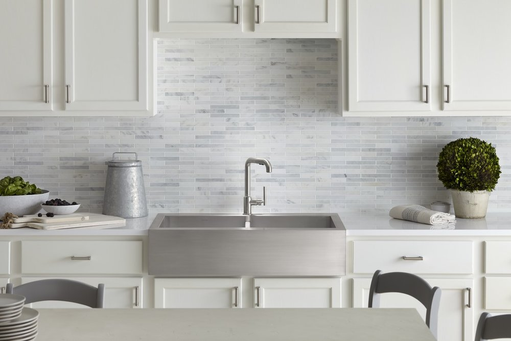 gray backsplash tile