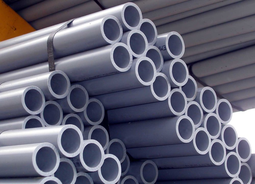 commercial pvc pipes in a stack