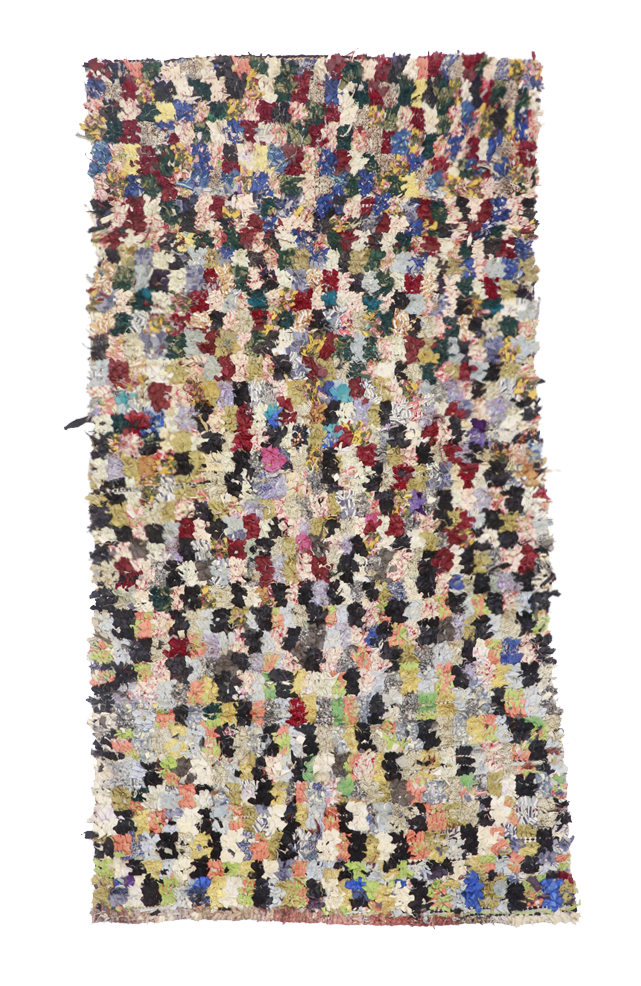 BOUCHERWITE CARPETS   Wonderfully extravagant in colour and timeless in design the Boucherouite carpet is creative and delightfully irresistible. Scraps of old clothes are given new life as they become part of an infinite fantasy, a rug of rags