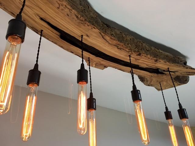 long olive wood light fixture