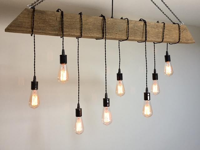 rustic wood timber hanging light