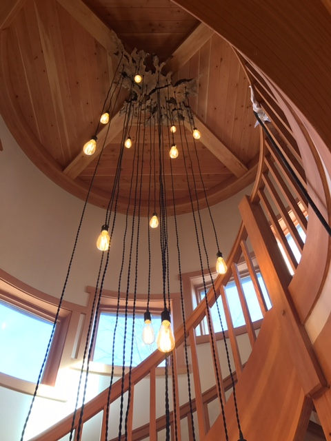 olive wood show piece chandelier