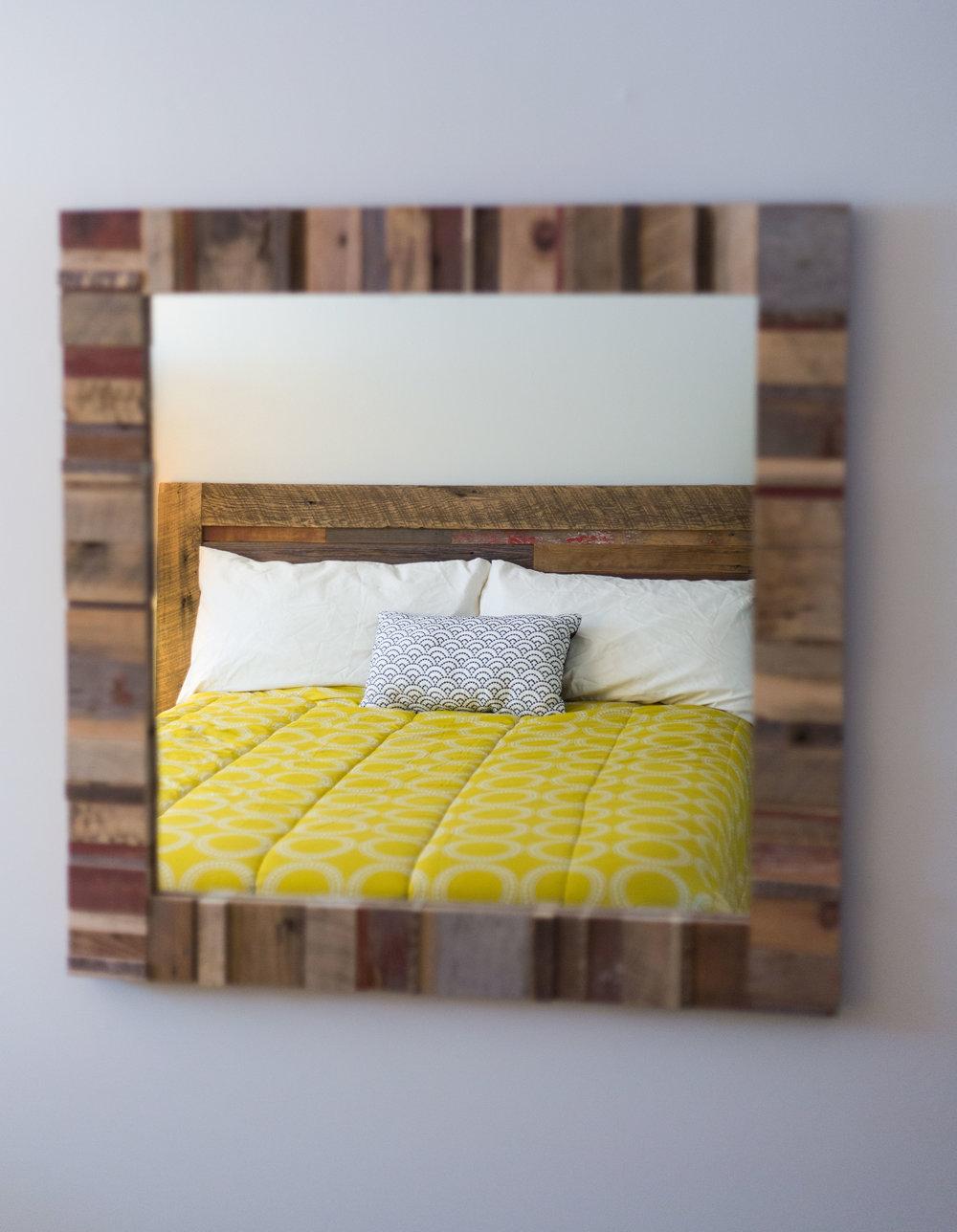 Reclaimed Barn Wood Headboard and Mirror