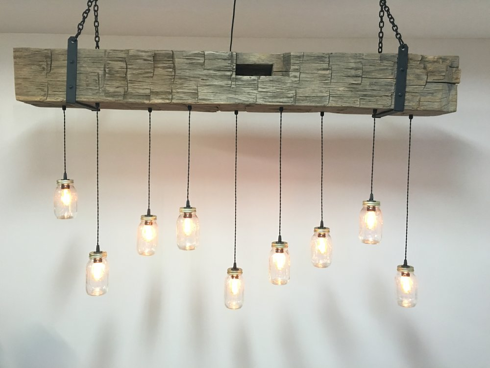Reclaimed Barn Beam Fixture with Mason Jars