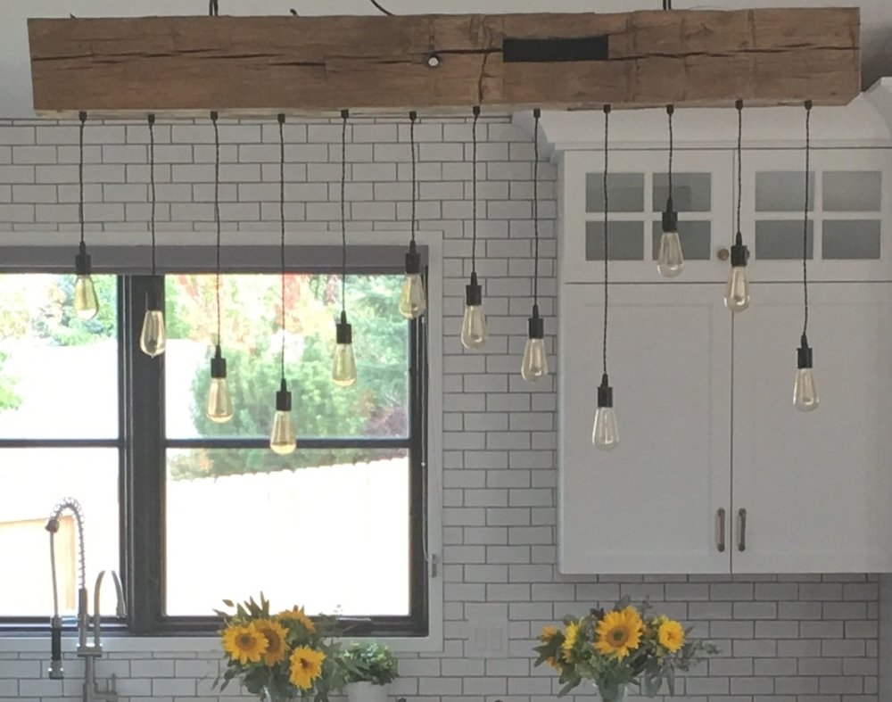 Reclaimed Barn Beam Light Fixture with Through the Beam Lights