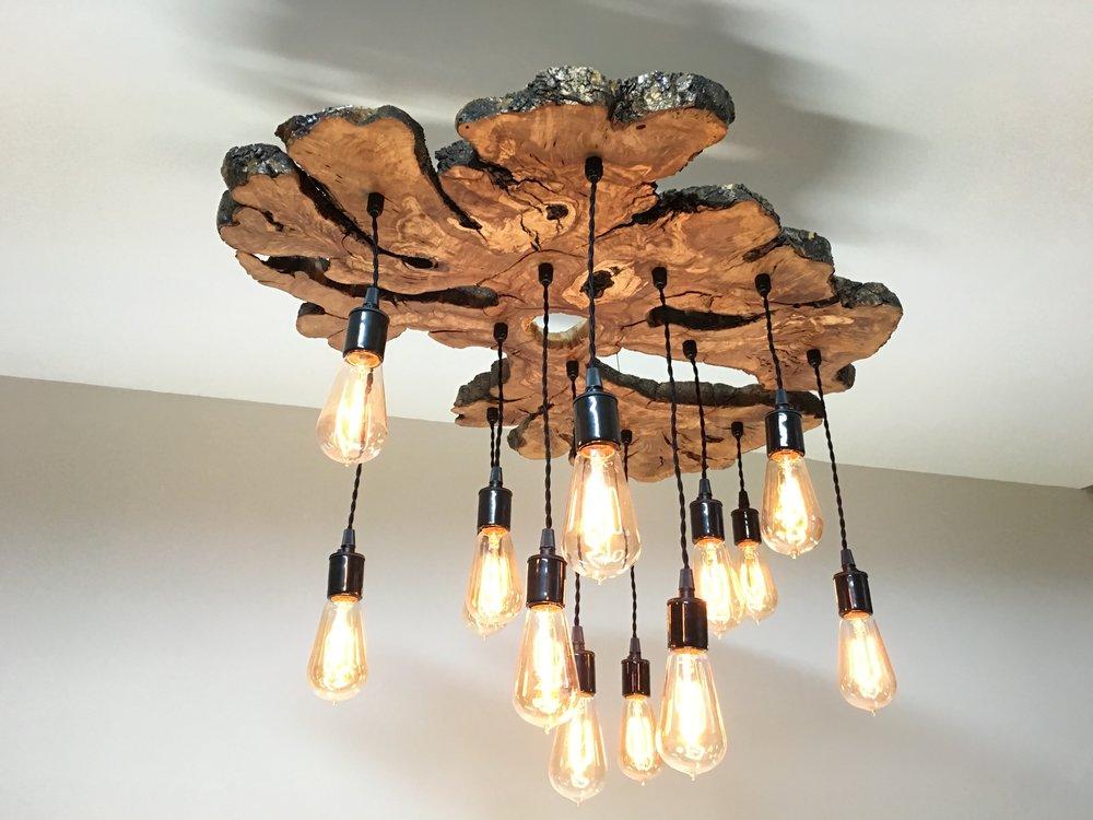 Olive wood chandelier