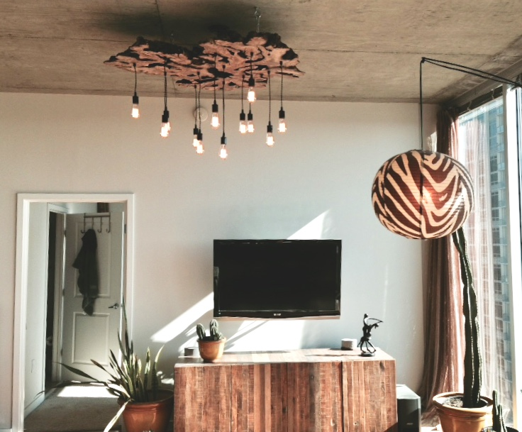 Extra large olive wood chandelier
