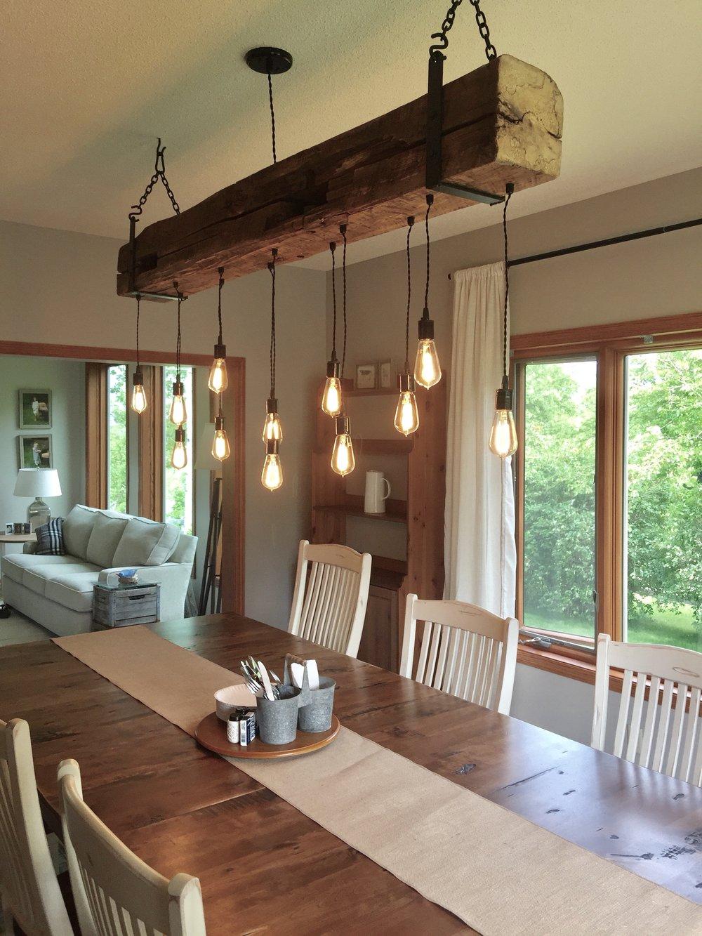 Rustic wood beam light