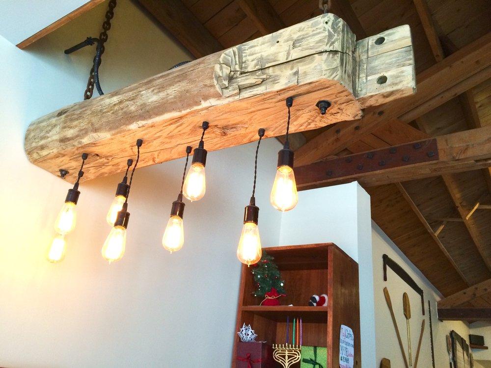 Reclaimed sleeper beam light