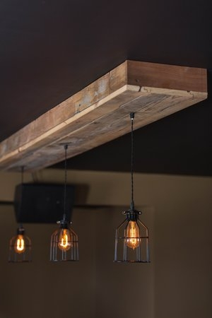 Handmade barn wood lighting
